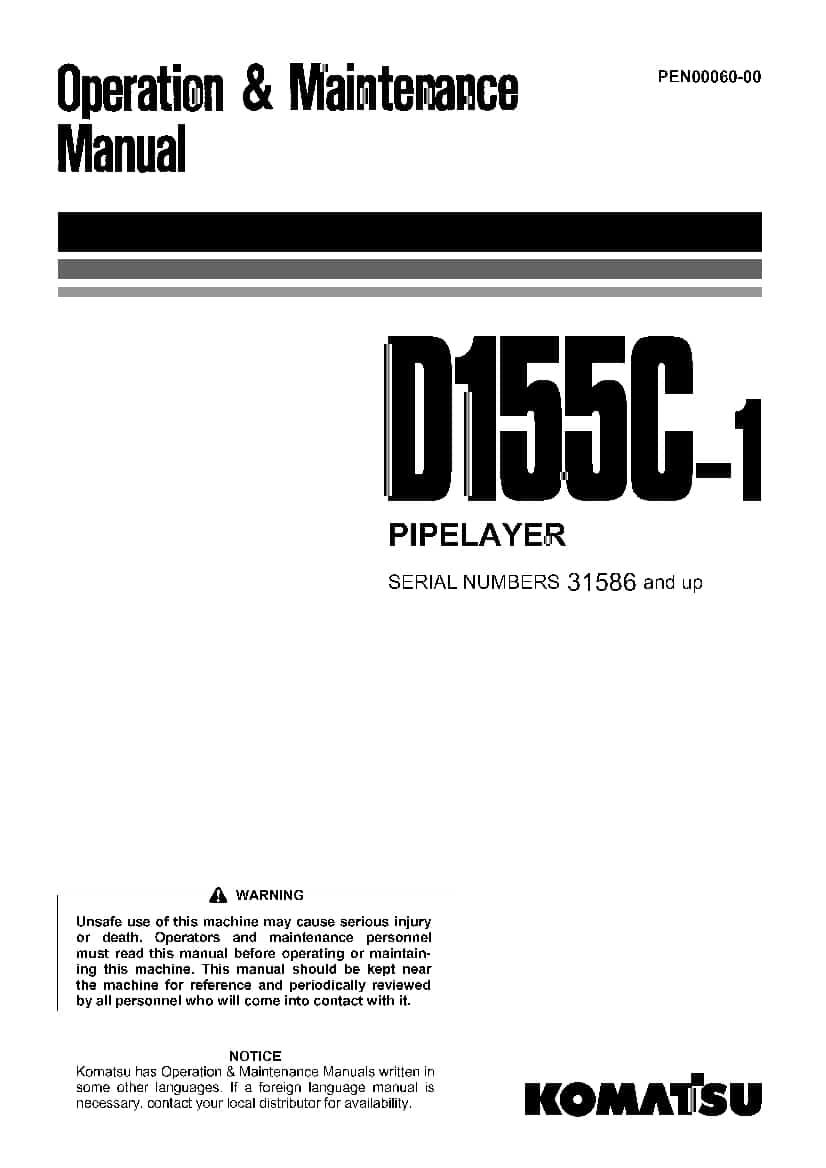 Komatsu D155C-1 Bulldozer Operation and Maintenance Manual