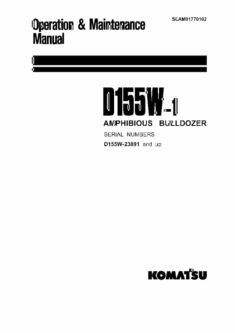 Komatsu D155W-1 Bulldozer Operation and Maintenance Manual