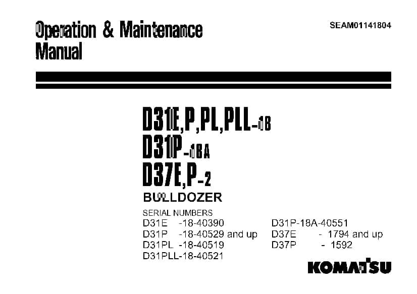 Komatsu D31 D37 D39 EX PX PLL-21 Bulldozer Operation and