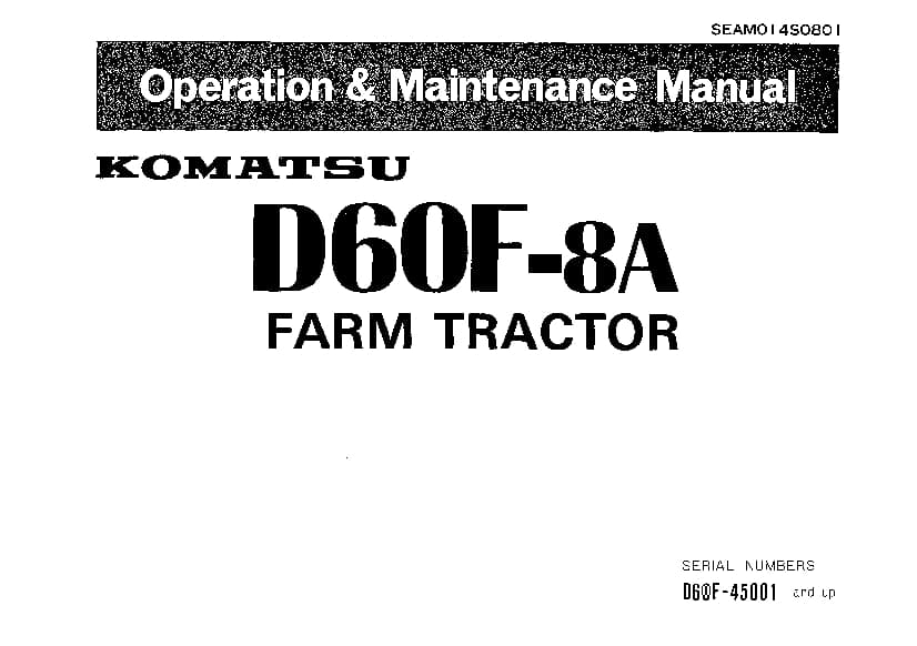 Komatsu D60F-8A Bulldozer Operation and Maintenance Manual