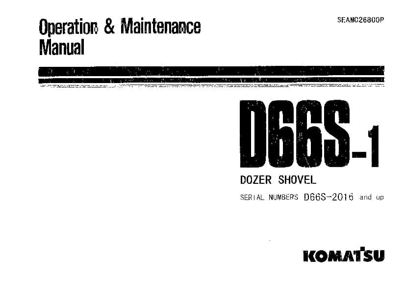 Komatsu D66S-1 Bulldozer Operation and Maintenance Manual