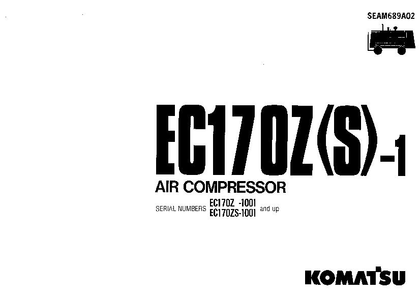 Komatsu EC170Z-1 EC170S-1 Air compressor Operation and