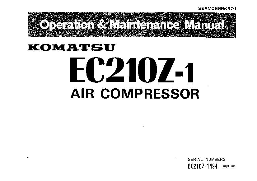 Komatsu EC210Z-1 1494 Air compressor Operation and