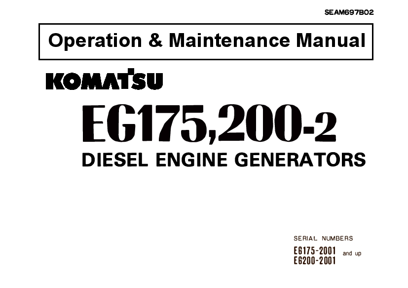 Komatsu EG175-2 EG200-2 Engine Generator Operation and