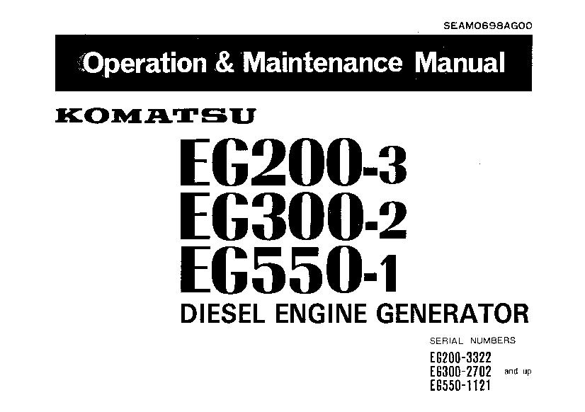 Komatsu EG200-3 EG300-2 EG550-1 Engine Generator Operation