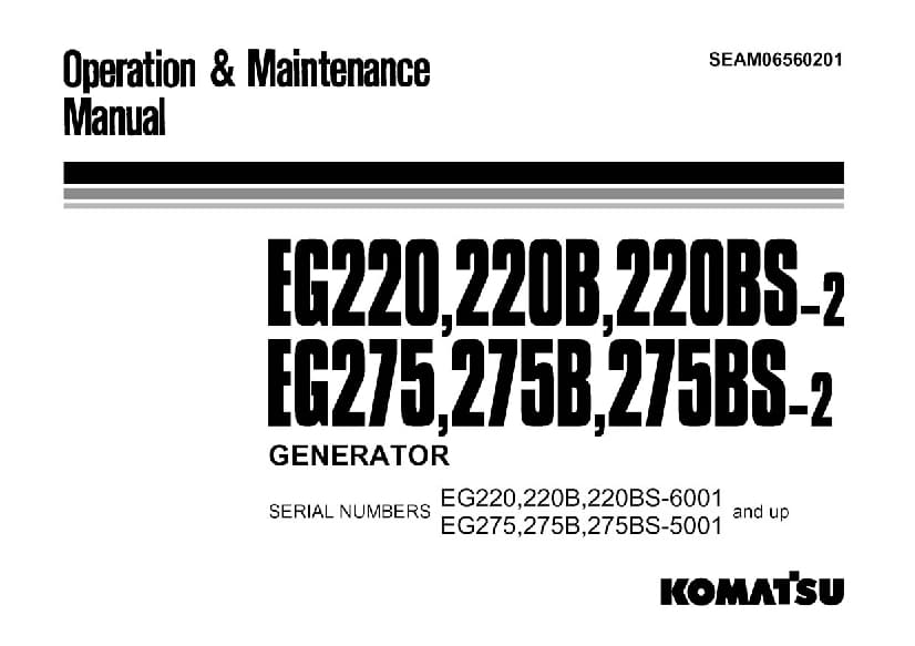 Komatsu EG220-2 EG275-2 6001 Engine Generator Operation