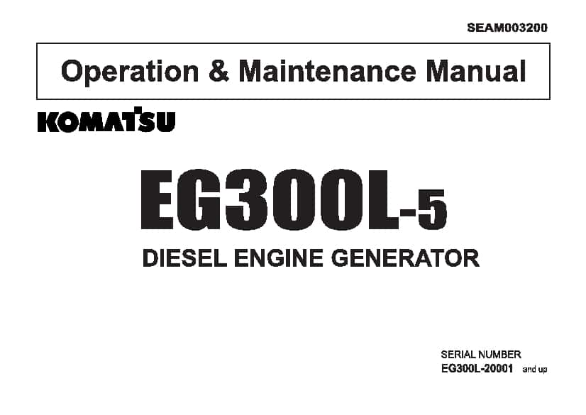 Komatsu EG300L-5 Engine Generator Operation and