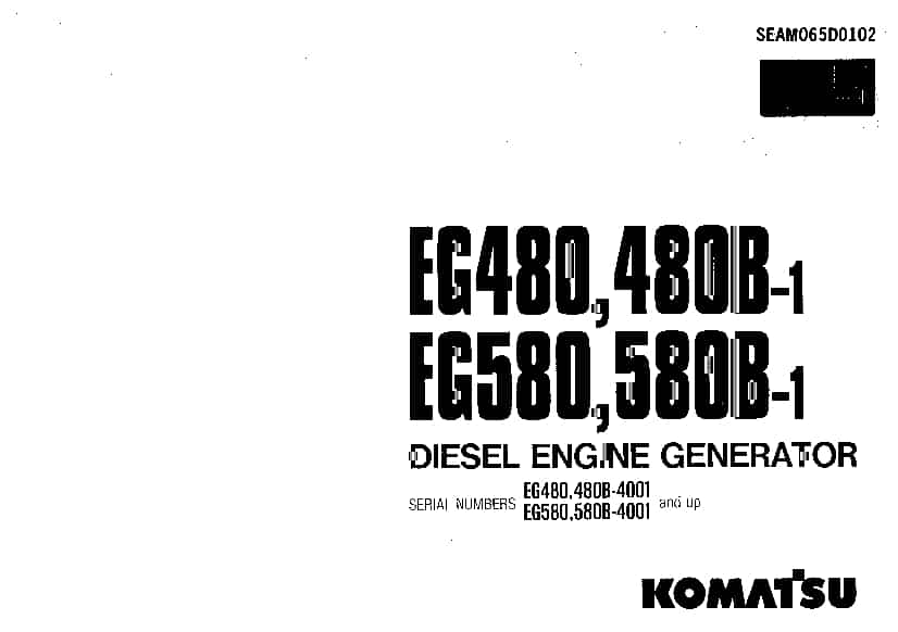 Komatsu EG480-1 EG580-1 Engine Generator Operation and