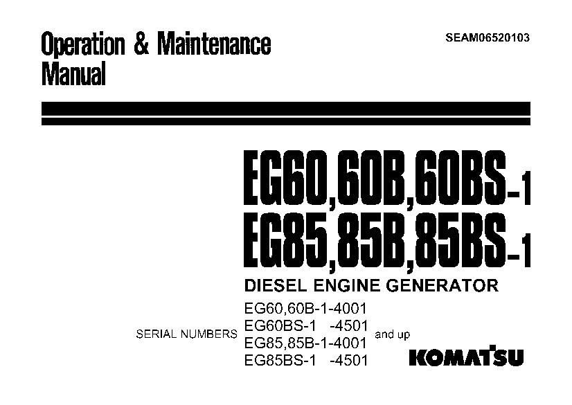 Komatsu EG60-1 EG85-1 Engine Generator Operation and
