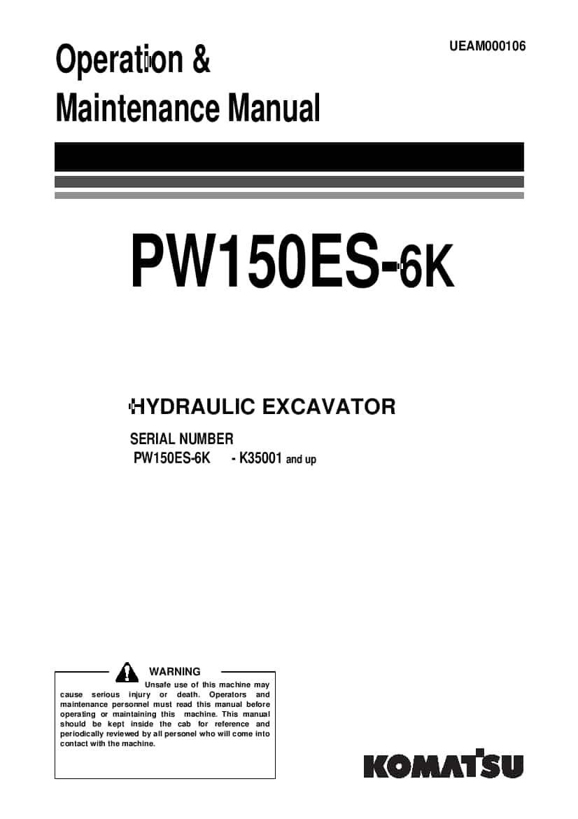 Komatsu PW150ES-6K Wheel excavator Operation and