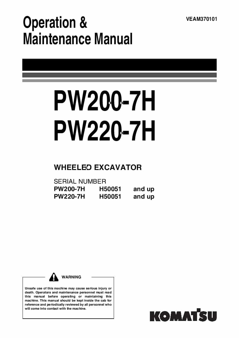 Komatsu PW200-7H PW220-7H Wheel excavator Operation and