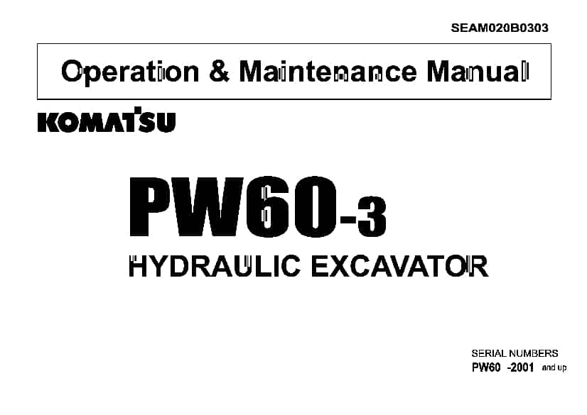 Komatsu PW60-3 Wheel excavator Operation and Maintenance