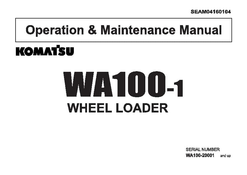 Komatsu WA100-1 Wheel loader Operation and Maintenance