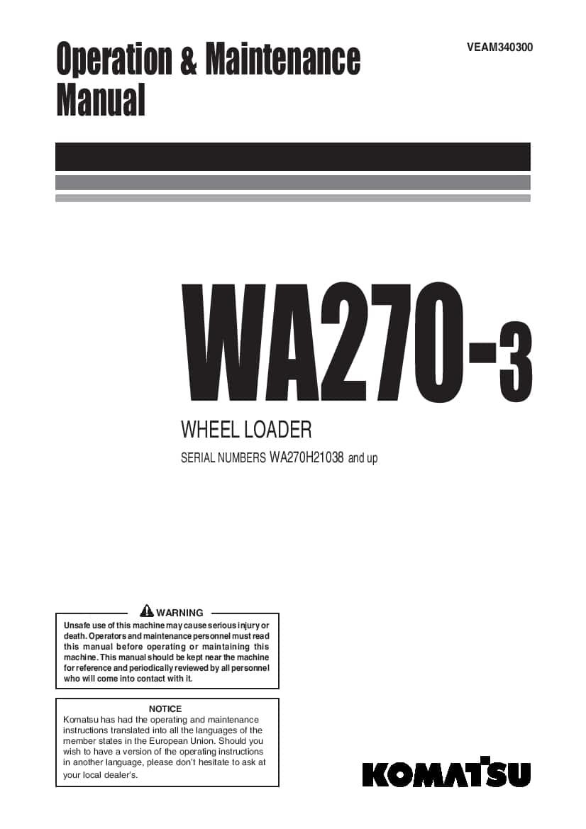 Komatsu WA270-3 Wheel loader Operation and Maintenance