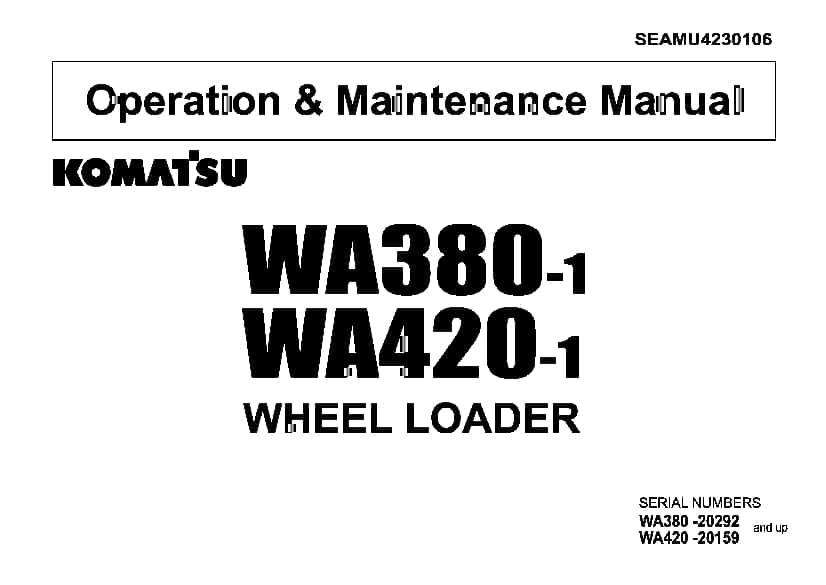 Komatsu WA380-1 WA420-1 Wheel loader Operation and