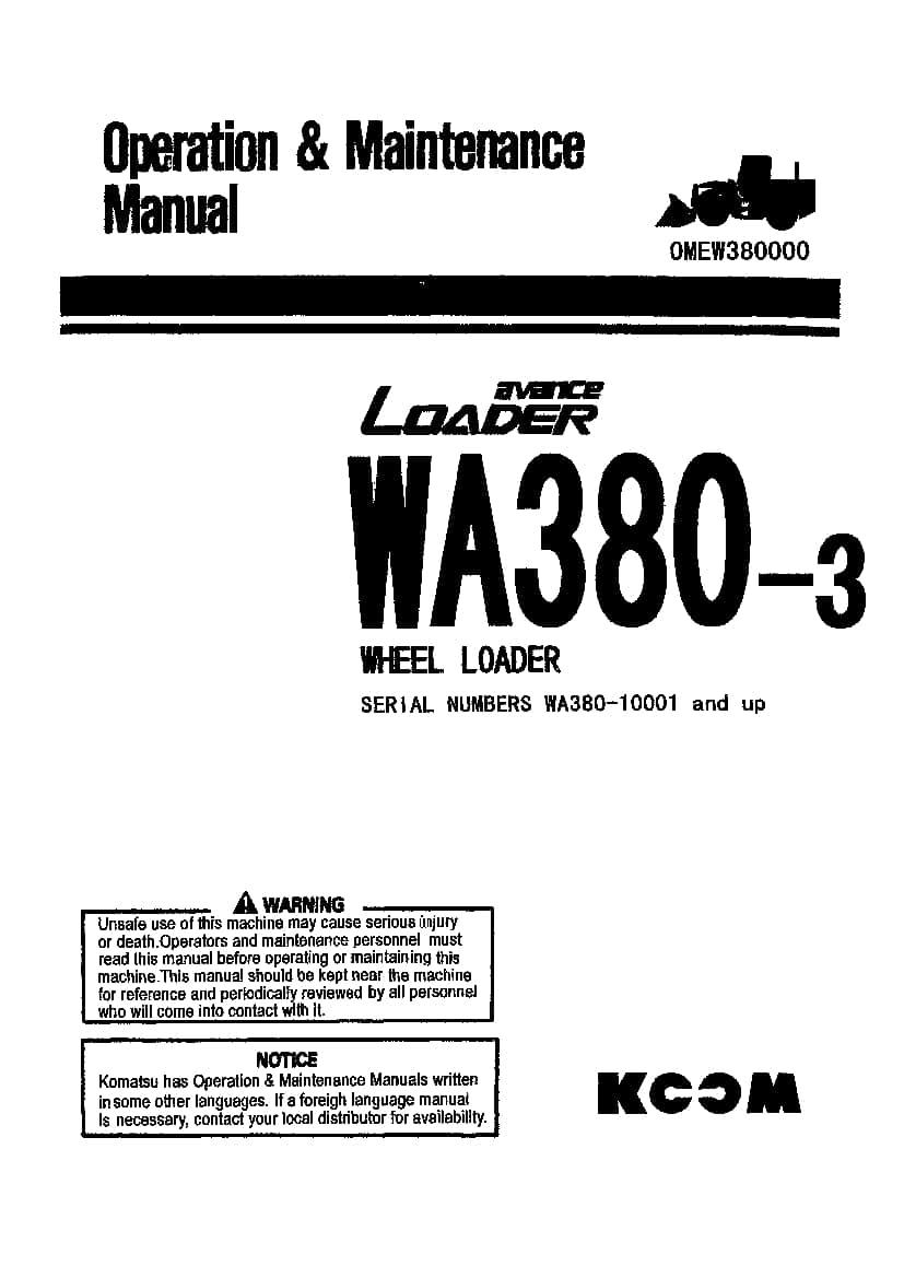 Komatsu WA380-3 Wheel loader Operation and Maintenance