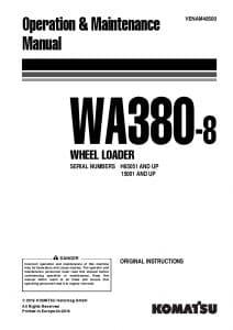 Komatsu WA380-8 Wheel loader Operation and Maintenance