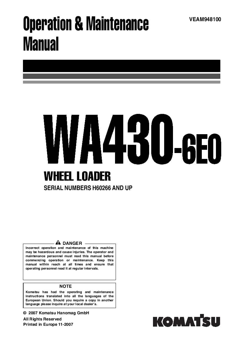 Komatsu WA430-6E0 Wheel loader Operation and Maintenance