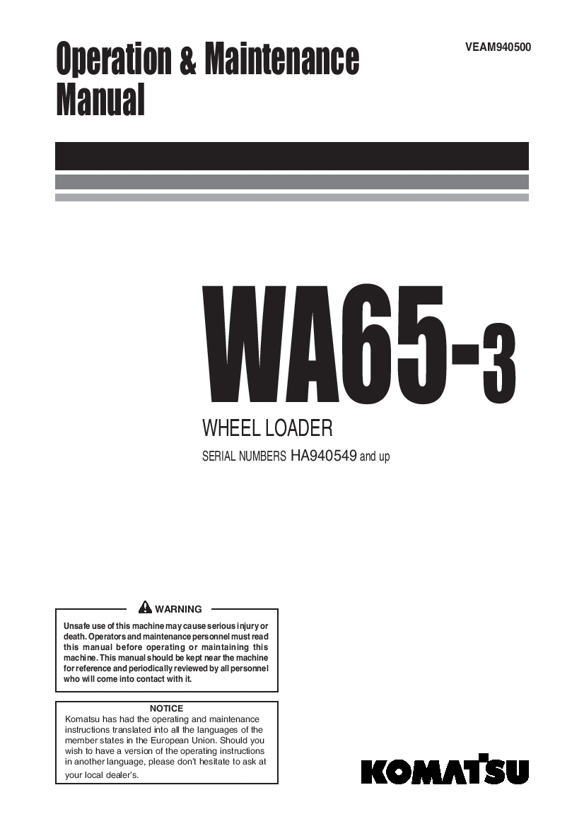 Komatsu WA65 WA70 WA80 WA90 WA100-6 Wheel loader Operation