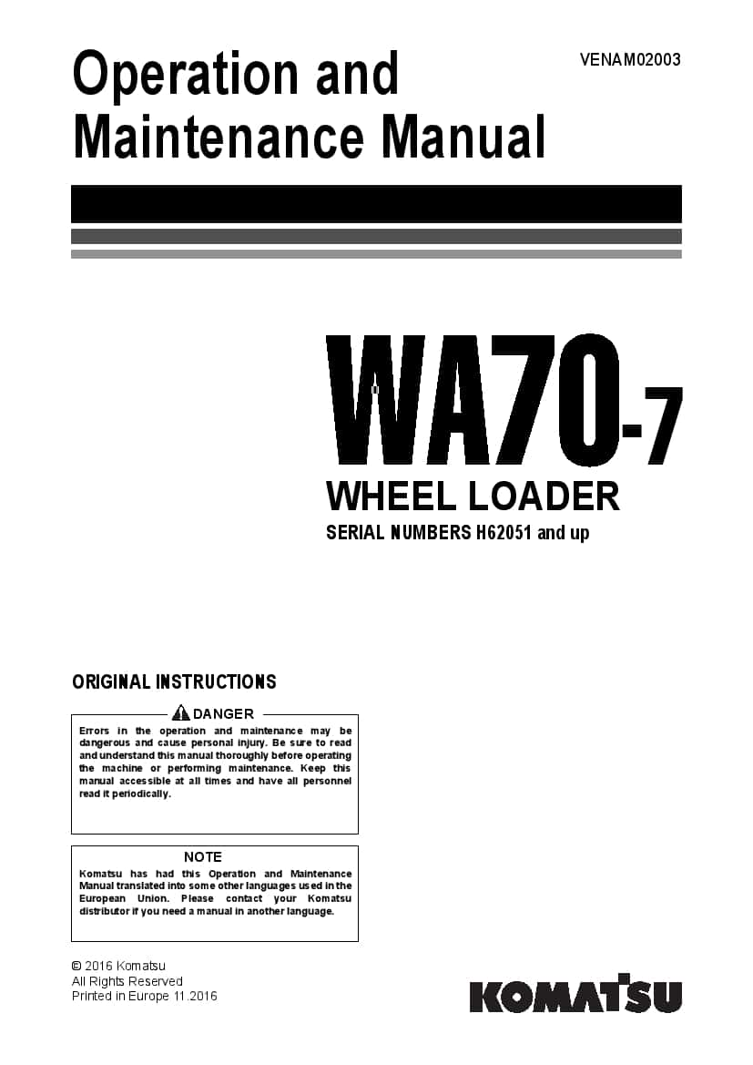 Komatsu WA70-7 Wheel loader Operation and Maintenance