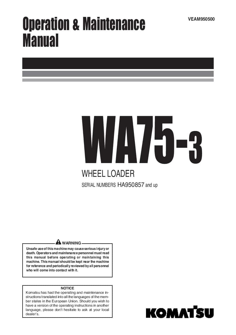 Komatsu WA75-3 Wheel loader Operation and Maintenance