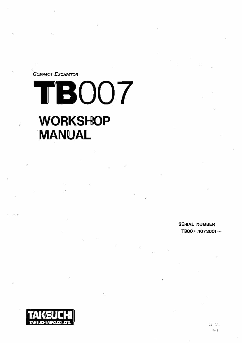 Takeuchi TB007-E WB4-101E2 Compact Excavator Workshop