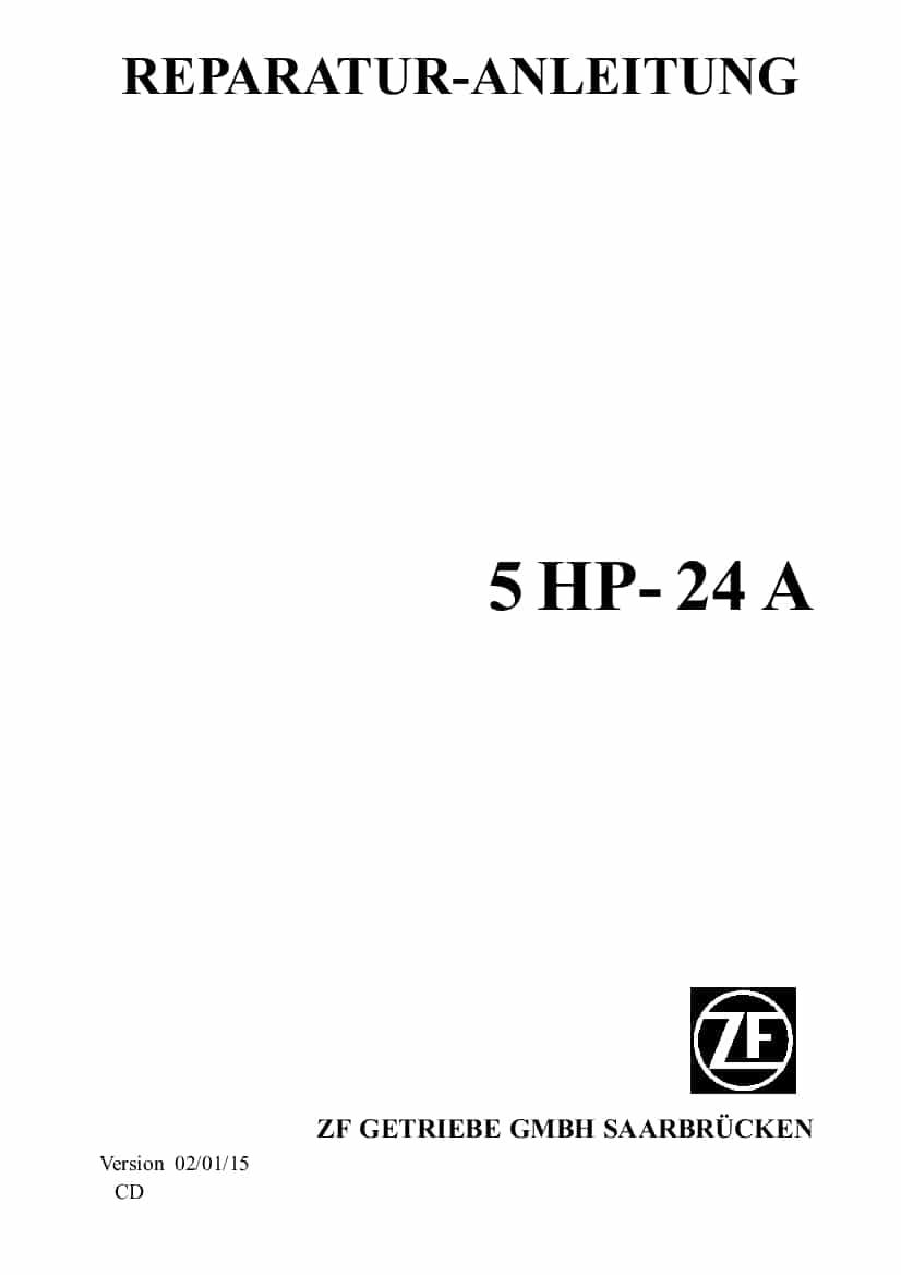 ZF 5HP24A Transmission German Workshop Repair Service