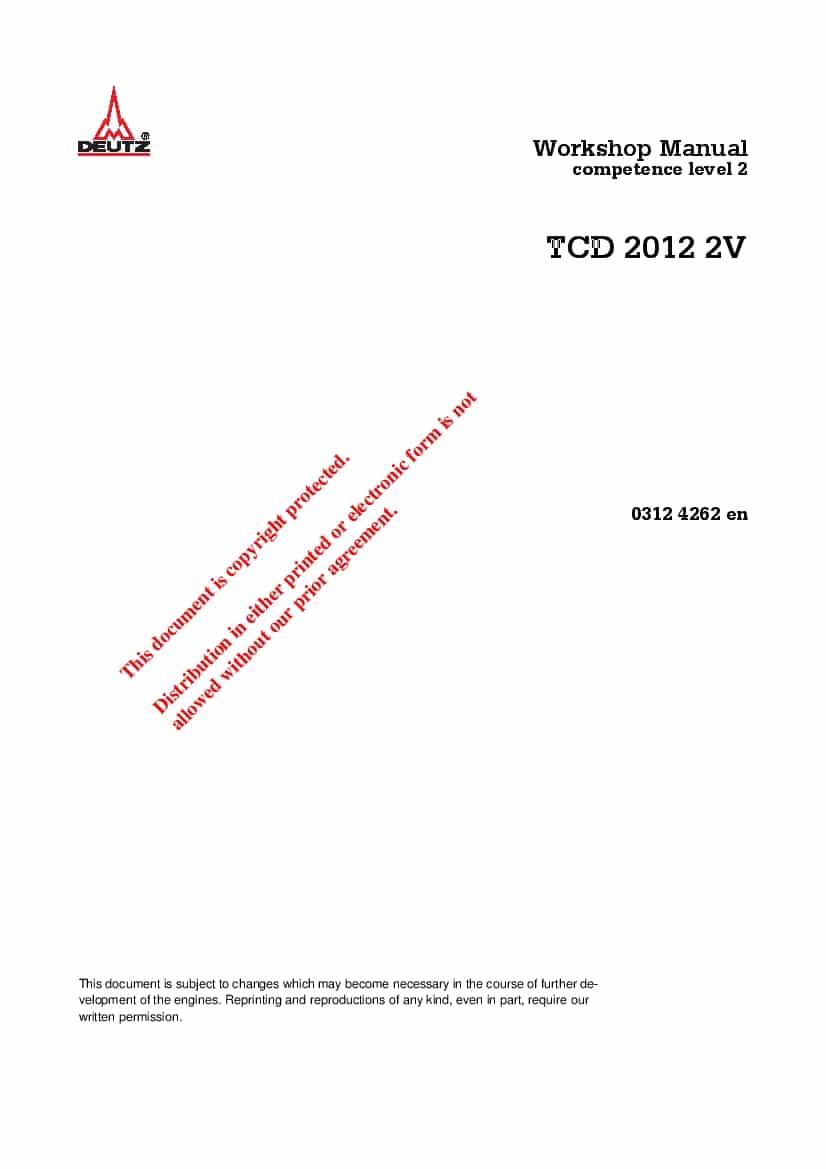 Deutz TCD 2012 03124262 Diesel Engine Workshop Repair