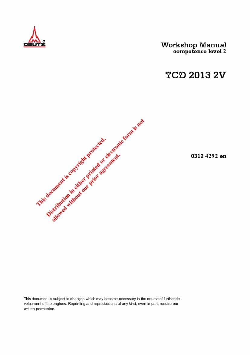 Deutz TCD 2013 03124292 Diesel Engine Workshop Repair