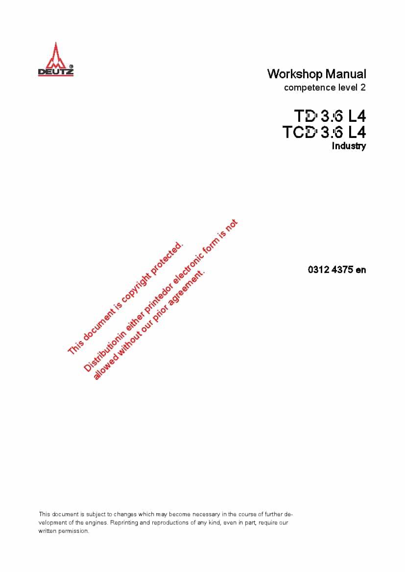 Deutz TD-TCD3-6 L4 Diesel Engine Workshop Repair Service