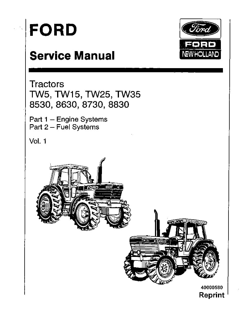 Ford New Holland TW5 TW15 TW25 TW35 8530 8630 8730 8830