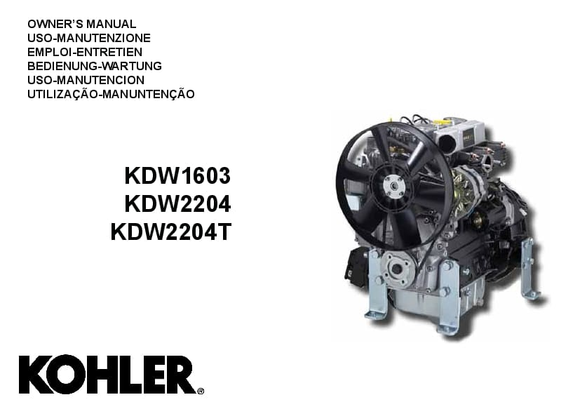 Kohler KDW1603 KDW2204 Engines Operation and Maintenance