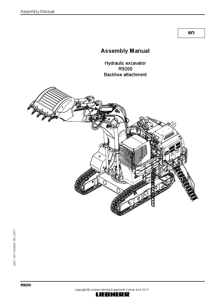 Liebherr R9200 backhoe Hydraulic excavator Assembly manual