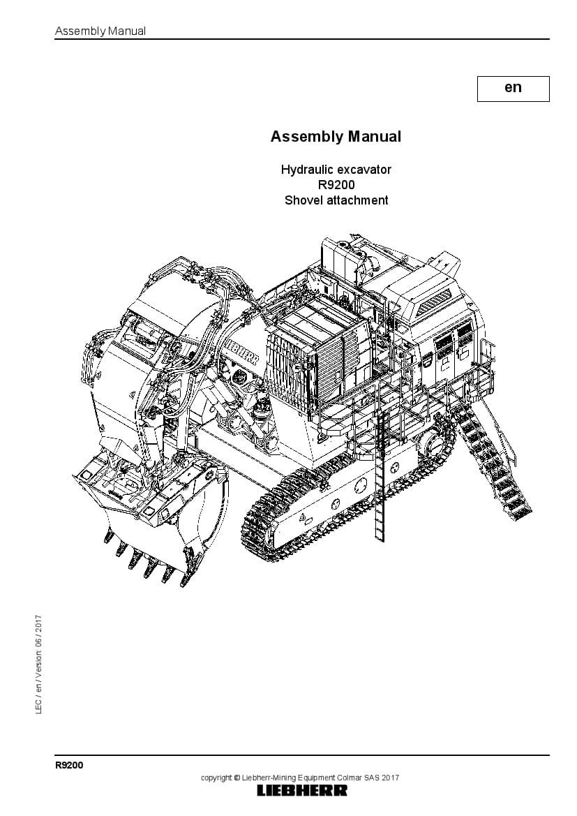 Liebherr R9200 shovel Hydraulic excavator Assembly manual