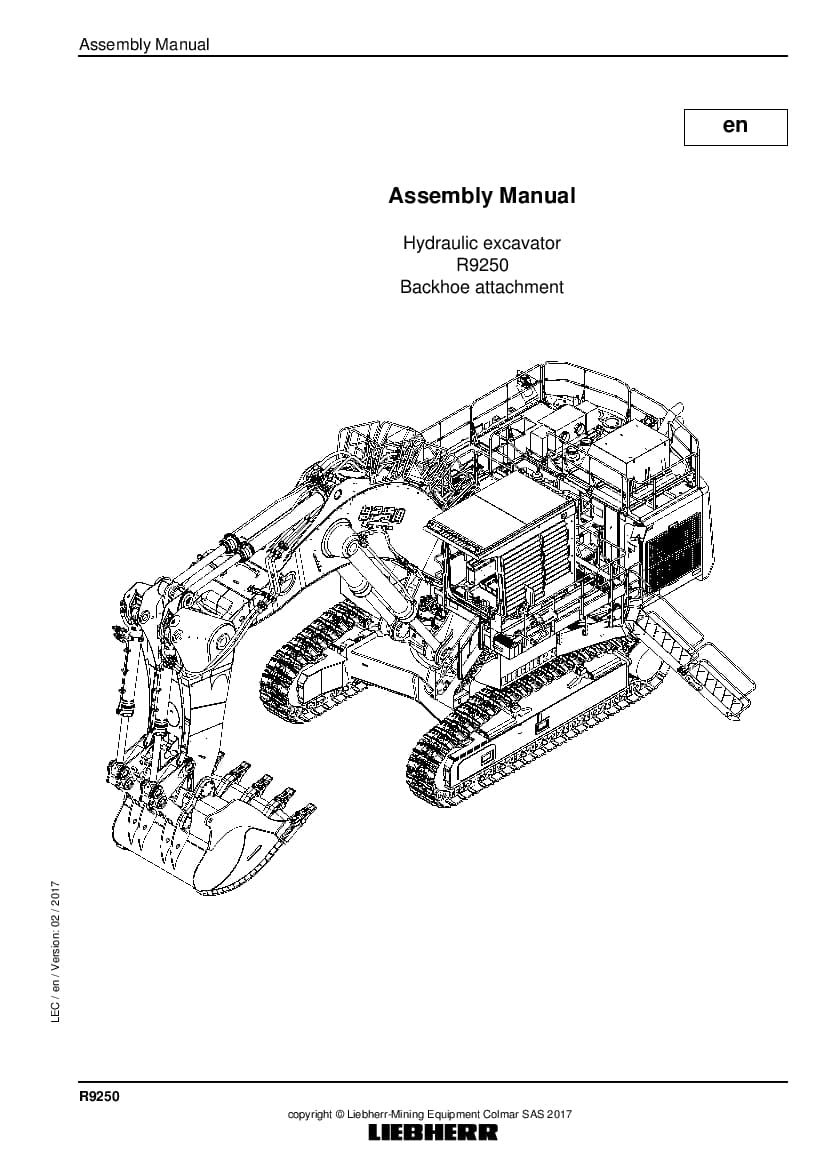 Liebherr R9250 backhoe Hydraulic excavator Assembly manual