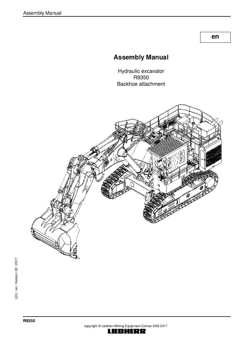 Liebherr R9350 backhoe Hydraulic excavator Assembly manual