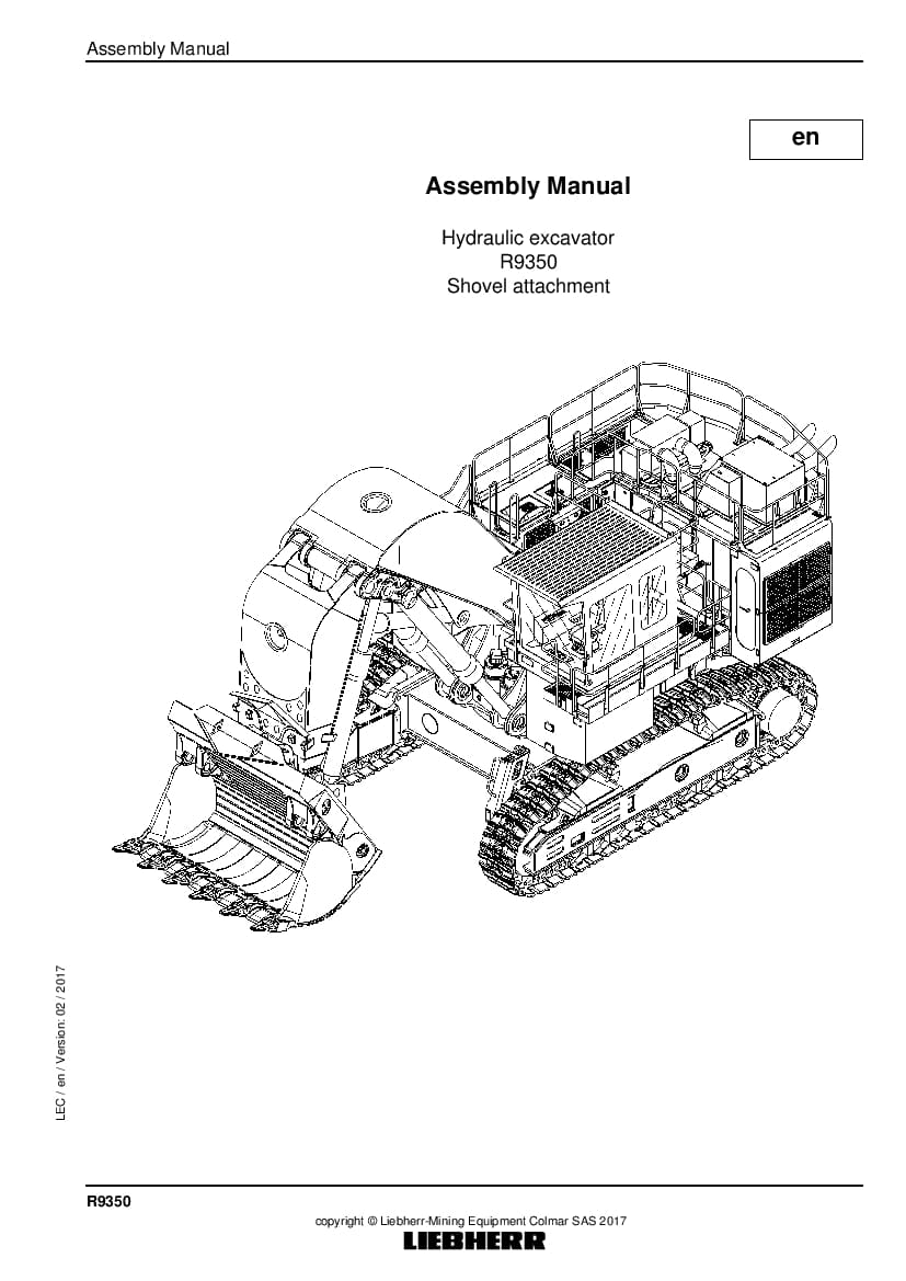 Liebherr R9350 shovel Hydraulic excavator Assembly manual