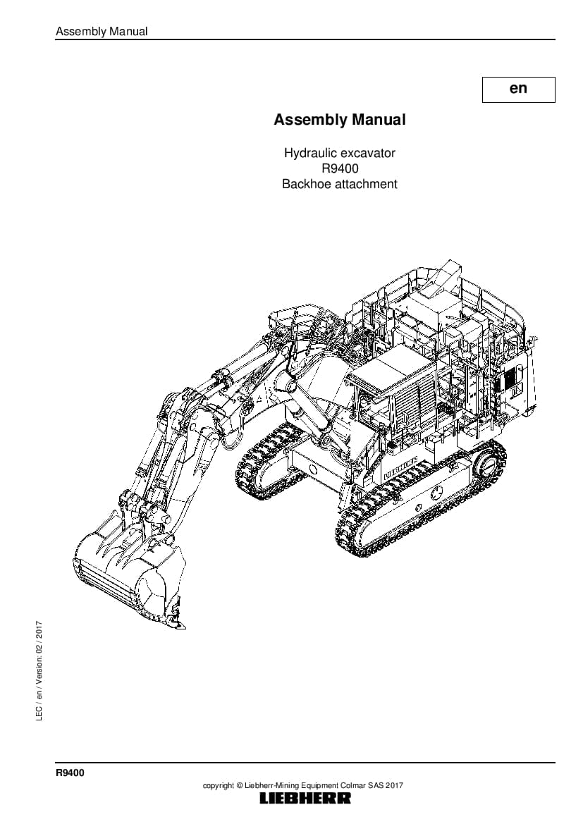 Liebherr R9400 backhoe Hydraulic excavator Assembly manual