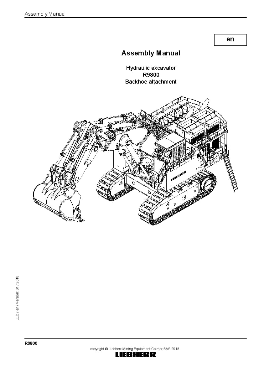 Liebherr R9800 backhoe Hydraulic excavator Assembly manual