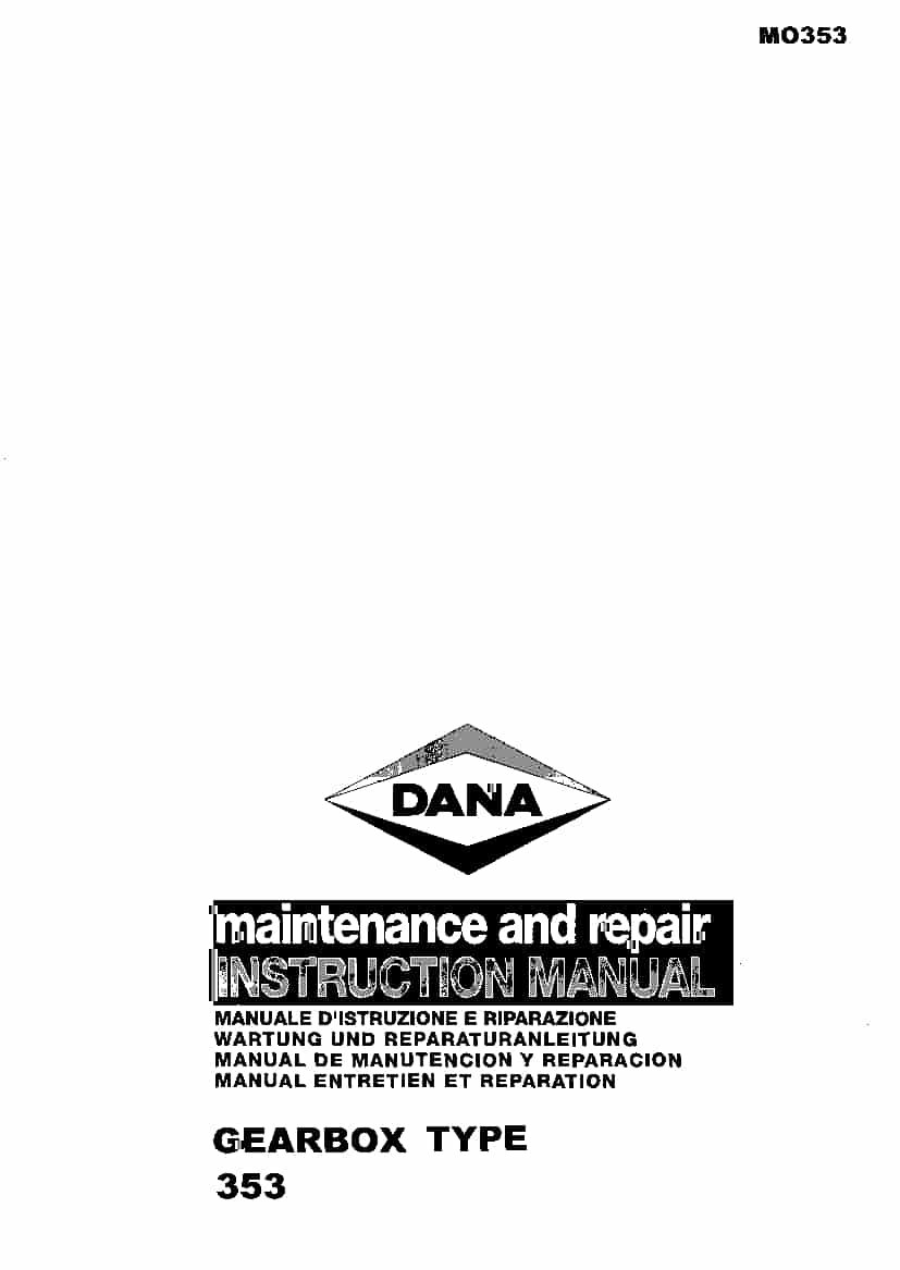 Dana Gearbox type 353 Workshop Repair Service Manual PDF