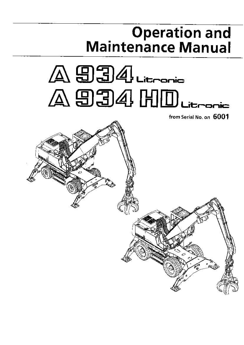 Liebherr A934 Operation and Maintenance Manual PDF