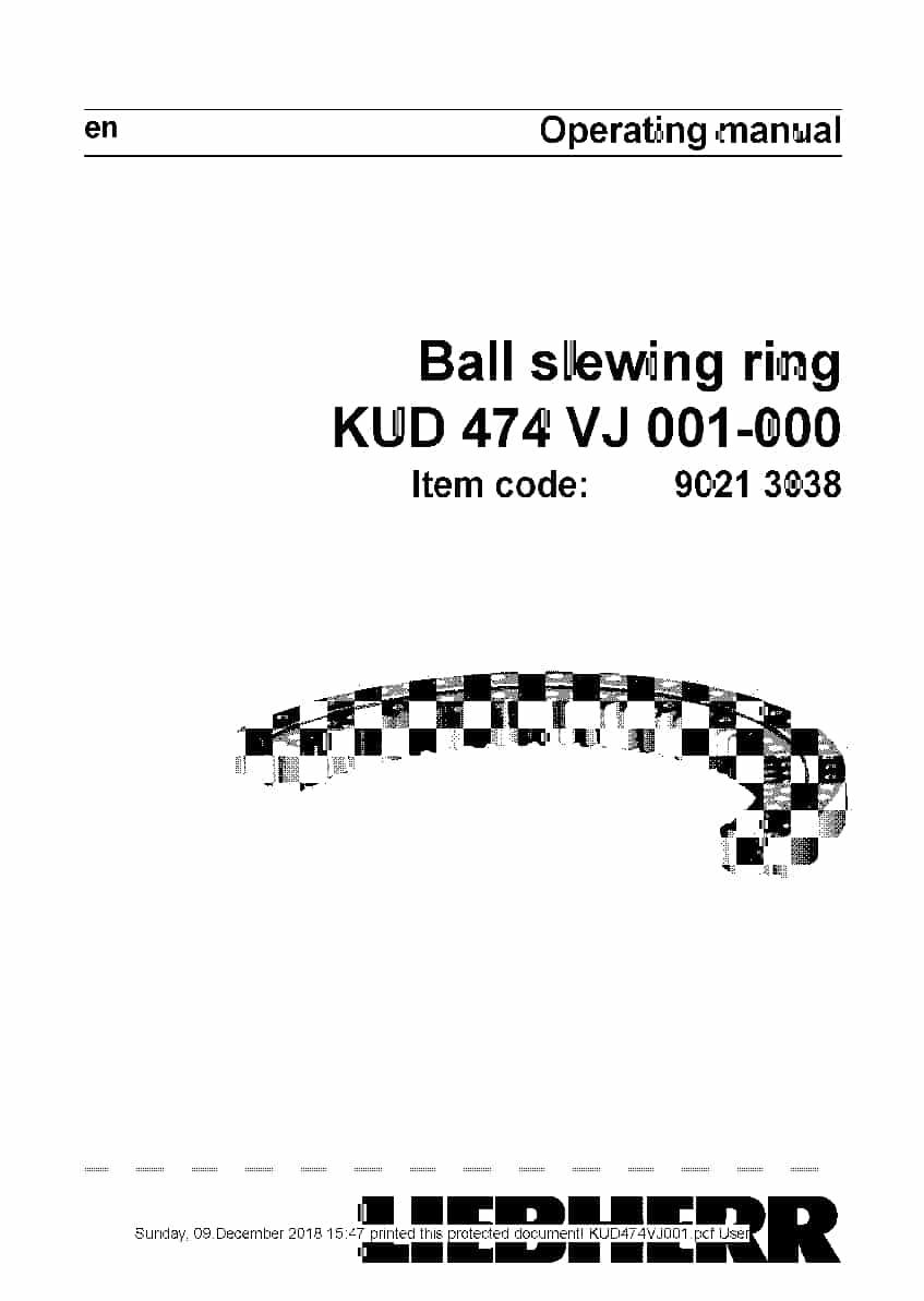 Liebherr Ball slewing ring KUD474VJ001 Operating manual