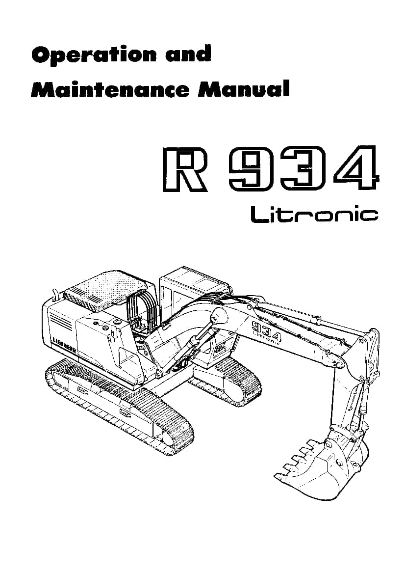 Liebherr R934 5001 Operation and Maintenance Manual PDF