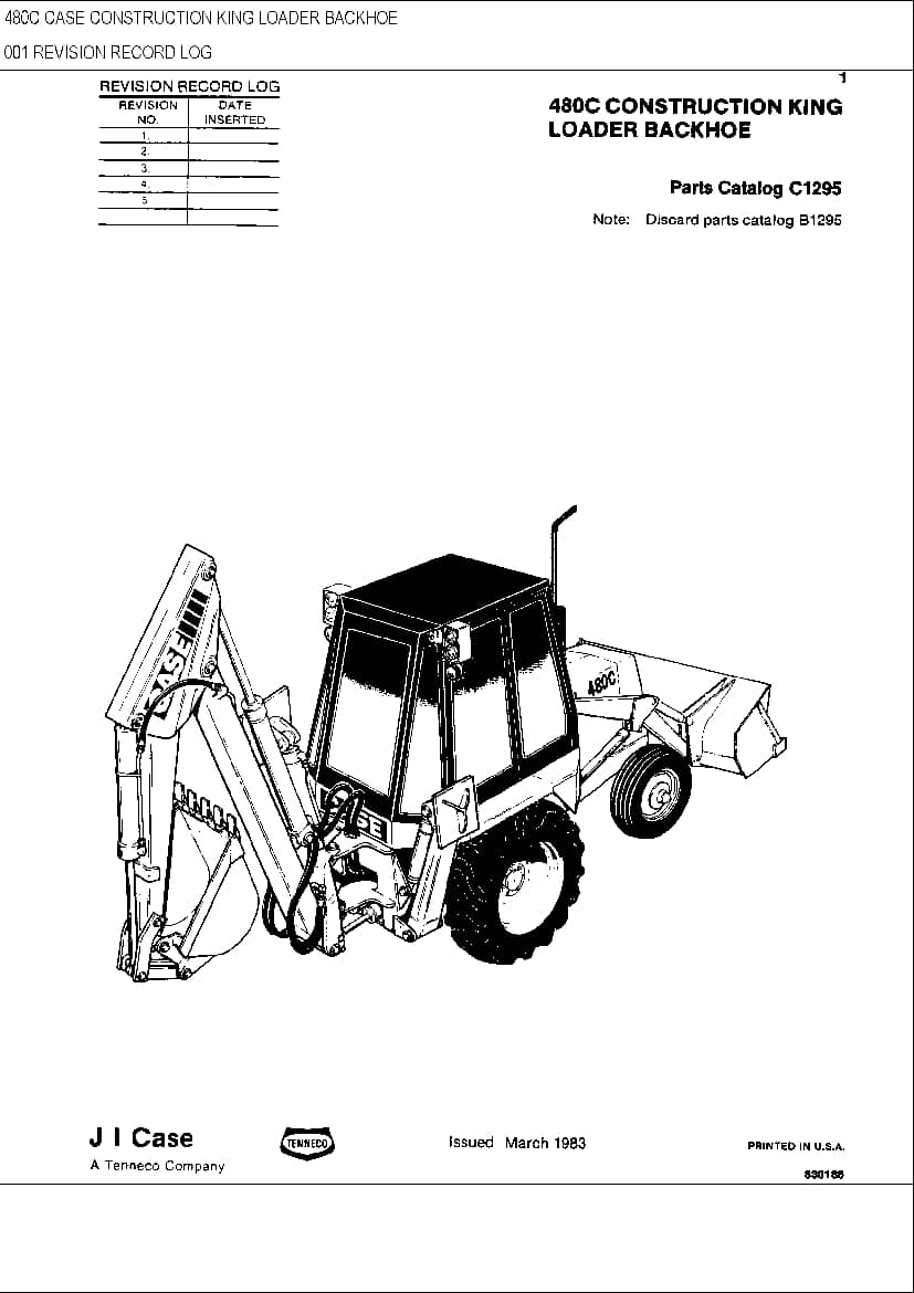 CASE 480C Loader Backhoe Parts Manual PDF Download