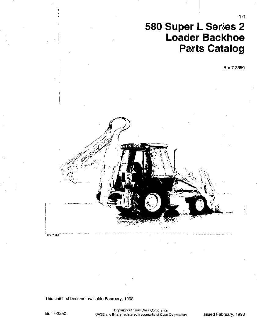 CASE 580SL SUPER L SERIES 2 LOADER BACKHOE Parts Manual