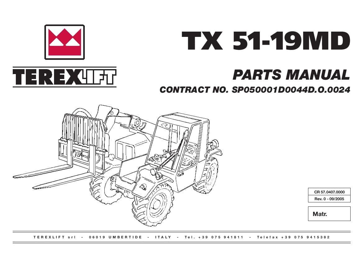 Terex Lift Tx51 19 Md Parts Manual Download
