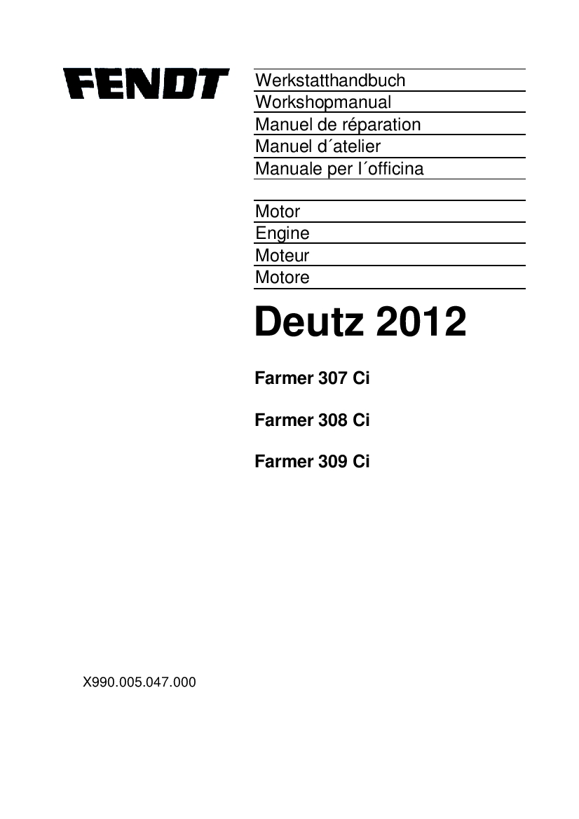 Fendt Deutz 2012 engine Farmer 307 308 309 Workshop Repair