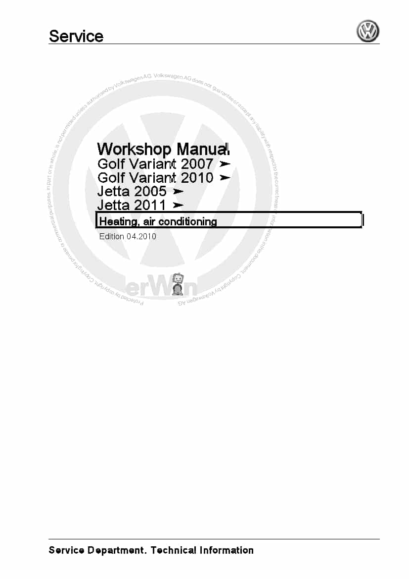 Heating, air conditioning jetta golf variant 2005 2011 PDF