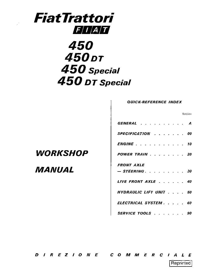 Fiat 450 Tractors Workshop Repair Service Manual PDF