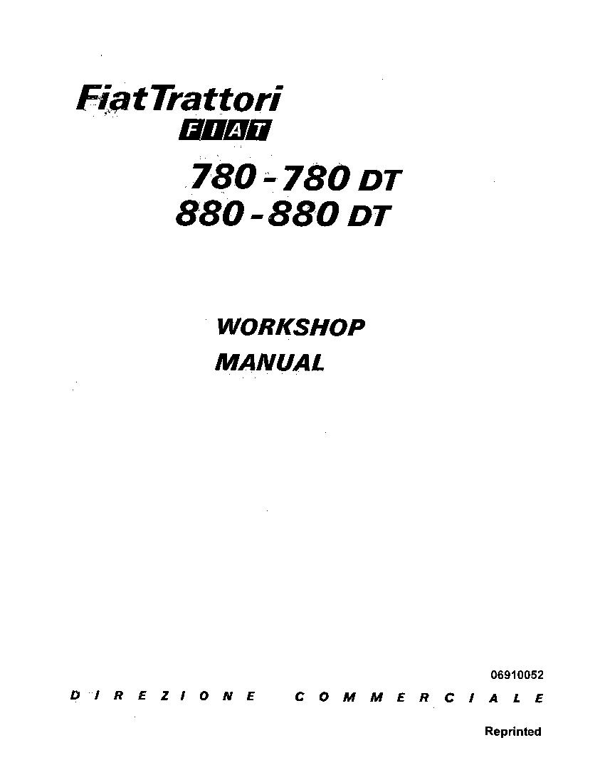 Fiat 780 880 Tractors Workshop Repair Service Manual PDF